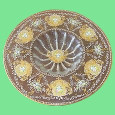 Vintage Bohemian 24K Art Glass Console Bowl Jeweled