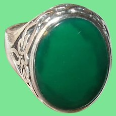 Vintage Sterling Ring Green Stone