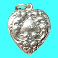 Antique Sterling Puffy Heart Large Charm Repousse