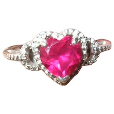 Vintage Sterling Heart Ring Ruby and Diamonds