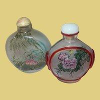 Vintage Oriental Snuff Bottles Reverse Painted