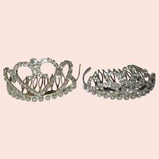 Vintage Rhinestone Mini Crown Hair Comb