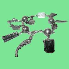 Vintage 900 Silver Guatemala Charm Bracelet