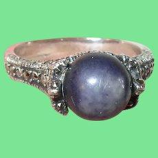 Vintage Sterling Ring Natural Stone Marcasite