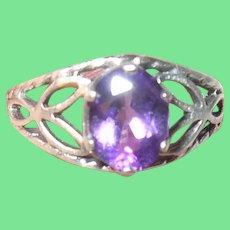 Vintage Sterling Amethyst Ring Open Work