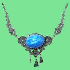 Vintage Drop Necklace Blue Stone Marcasite