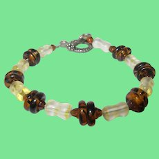 Vintage Sterling Art Glass Link Bracelet