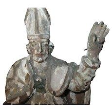 """Antique Wooden Papal Saint """"Santos"""" Sculpture 1820s"""