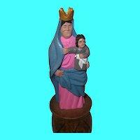 """Vintage Folk Art Wooden """"Virgen Del Pilar"""""""