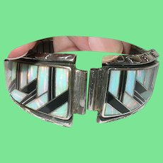 Vintage Sterling Watch Band Opal Doublet