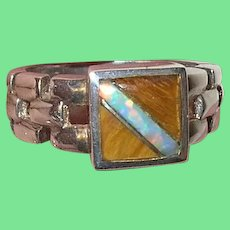Vintage Sterling Ring Tigers Eye Opal Doublet