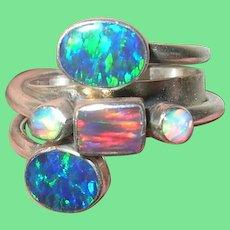 Vintage Sterling Modernist Ring Opals