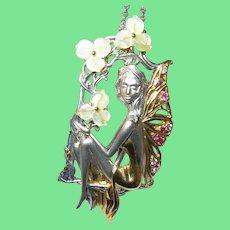 Vintage 14K Sterling Pendant Necklace Pink Sapphires