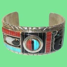 Vintage Don Dewa Zuni Sterling Spinner Bracelet