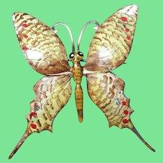 Vintage Sterling Enamel Butterfly Brooch by Bauring Sterling