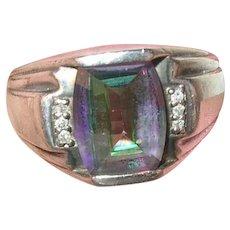 Vintage Sterling Diamond Topaz Ring