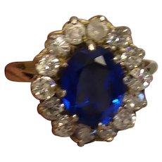VIntage Sterling Ring Blue Stone