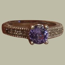 Vintage Sterling Silver Ring Lavender Faux Stone