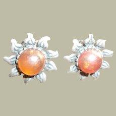 Vintage Sterling Amber Sunburst Earrings
