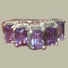 Vintage Sterling Faux Amethyst Ring