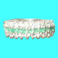 VIntage Sterling Ring Emerald Faux Diamonds