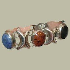 Vintage Sterling Link Bracelet Semi Precious Stones