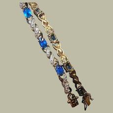 Vintage Sterling Vermeil Bracelet Faux Sapphire