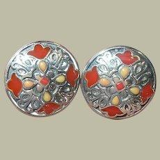 Vintage Sterling Earrings Enamel