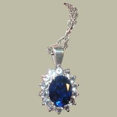Vintage Sterling Necklace Pendant Faux Sapphire