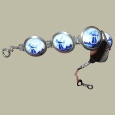 Vintage Sterling Link Bracelet Blue Delft