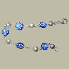 Vintage Sterling Link Bracelet Murano