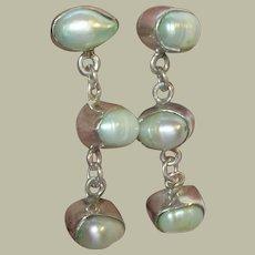 Vintage Sterling Drop Earrings Baroque Pearls