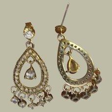 Vintage Sterling Chandelier Earrings Faux Diamonds