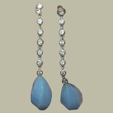 Vintage Sterling Drop Earrings Semi Precious Stones