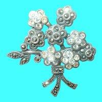Vintage Sterling Marcasite Faux Diamond Brooch Flower Design
