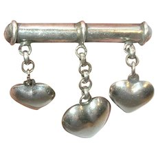 Vintage Sterling Brooch Puffy Hearts