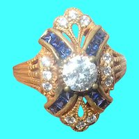 Vintage Sterling Vermeil Ring Faux Stones