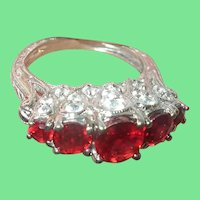 Vintage Sterling Ring Lab Rubys