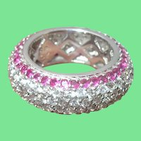 Vintage Sterling Faux Ruby & Diamond Ring