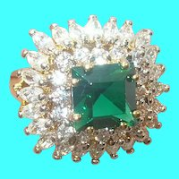 Vintage Sterling Vermeil Ring Faux Emerald Diamond