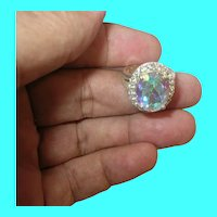 Vintage Sterling Ring Aurora Borealis Faux Diamonds