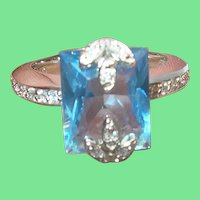 Vintage Sterling Ring Faux Blue Stone