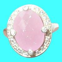 Vintage Sterling Ring Pink Quartz