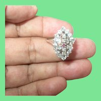 Vintage Sterling Ring Faux Diamonds Ruby