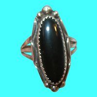 Vintage Sterling Ring Black Onyx