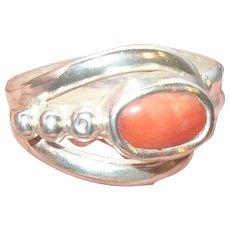 Vintage Sterling Coral Ring Modernist Design