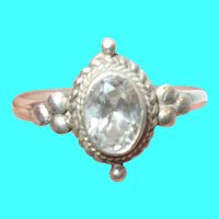 Vintage Sterling Ring Faux Diamond