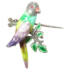 Vintage Sterling Enamel Bird Hat Pin