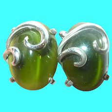 Vintage Sterling Glass Clip On Earrings