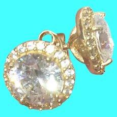 Vintage Sterling Vermeil Faux Diamond Earrings